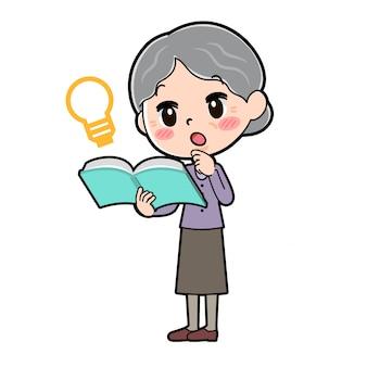 漫画のキャラクターのおばあちゃん、本のアイデア