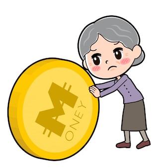 Cartoon character grandma, coin push