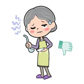 Cartoon character grandma, cook bad taste