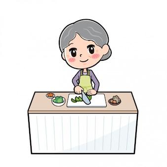 Cartoon character grandma, cook cut