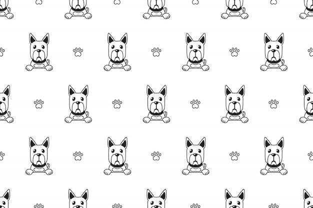 漫画のキャラクターのグレートデーン犬のシームレスパターン