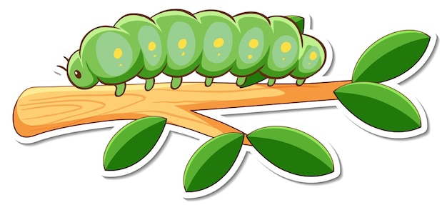 Cartoon character of green worm on a branch sticker