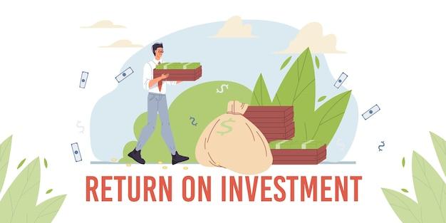漫画のキャラクターは利益を増やし、お金の収入を収穫します-ウェブオンライン、サイトの金融投資の概念