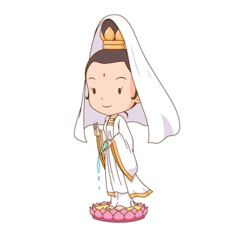 Cartoon character of guanyin chinese goddess of mercy