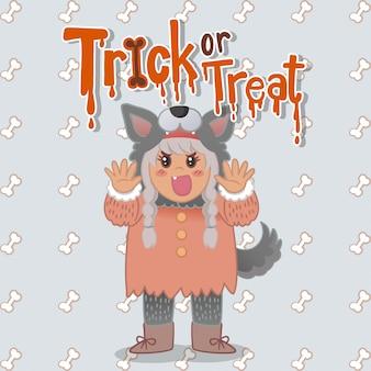 Cartoon character halloween girl warewolves