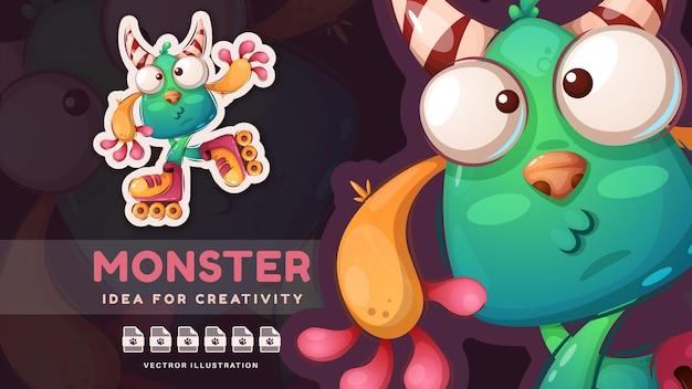Мультяшный персонаж хэллоуин монстр очаровательная наклейка