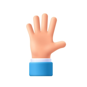 만화 캐릭터 손 친선 제스처입니다. 뻗은 손을 펼치고 다섯 손가락을 보여주며 인사말을 펼칩니다. 3d 이모티콘 벡터 일러스트 레이 션.