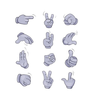 Cartoon character hands gestures set