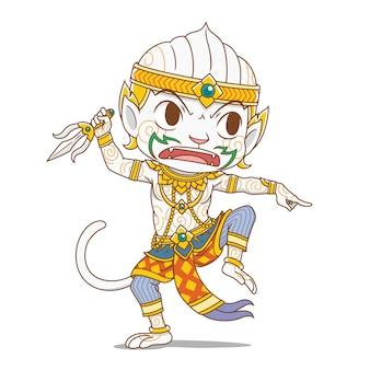 Cartoon character of hanuman, king monkey character in thailand's rammakian epic.