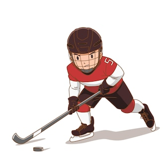Cartoon character of hockey player