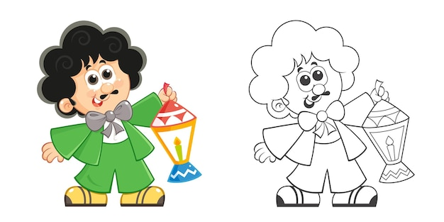 Cartoon character holding ramadan lantern  coloring page