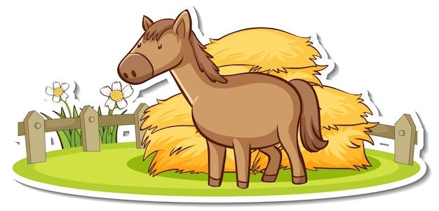 Personaggio dei cartoni animati di un cavallo nell'adesivo della fattoria