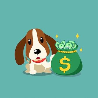 お金の袋を持つ漫画キャラクターハウンド犬