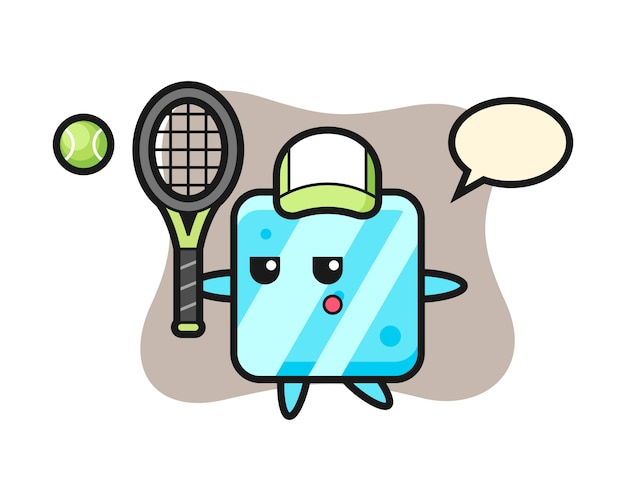 Cartoon character of ice cube as a tennis player
