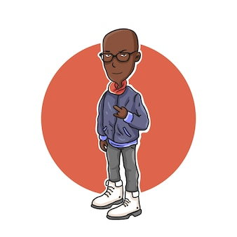 Cartoon character illustration african american people with jacket.