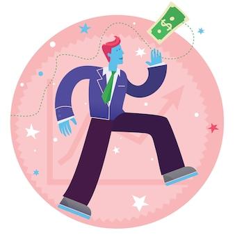 Cartoon character illustration of a businessman running on up, progress and success symbol