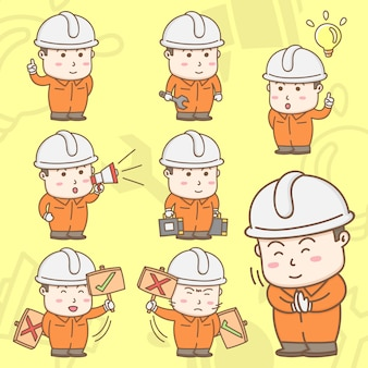 Cartoon character of industrial workers in safety coverall suit with cute actions