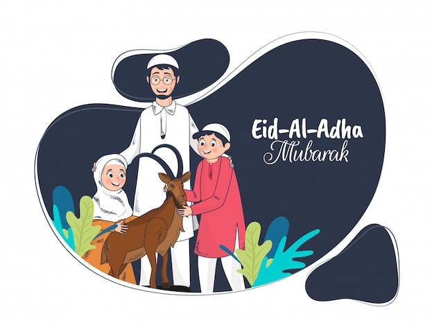 Cartoon character of islamic family with goat