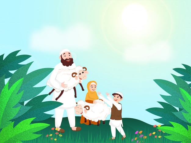 Cartoon character of islamic father giving sheep to his son