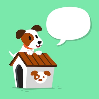 Cartoon character jack russell terrier dog and kennel