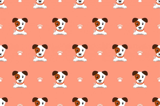 Cartoon character jack russell terrier dog seamless pattern