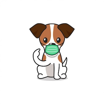 防護マスクを身に着けている漫画のキャラクタージャックラッセルテリア犬