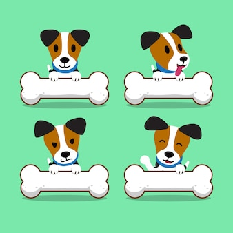 Cartoon character jack russell terrier dog with big bones