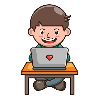 Cartoon character of kid working on laptop . free vector