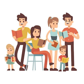 Cartoon character kids and adults with books isolated