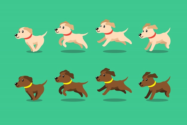 Cartoon character labrador retriever dog running step