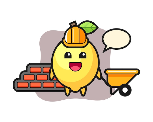 Cartoon character of lemon as a builder