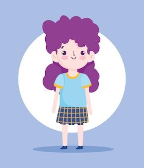 Мультипликационный персонаж маленькая девочка ученица школьной формы векторные иллюстрации