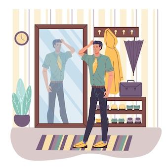 집 인테리어에서 거울을보고 만화 캐릭터-라이프 스타일, 아름다움과 패션 컨셉