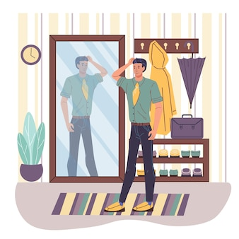 Cartoon  character looking in mirror at home interior -lifestyle,beauty and fashion concept