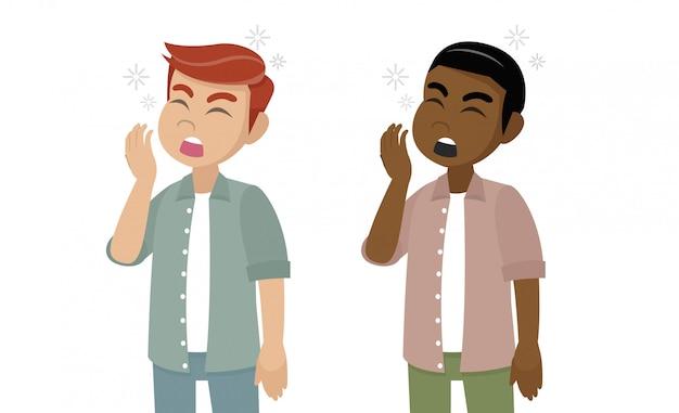 Cartoon character, man character yawning.