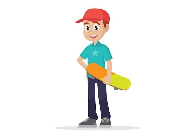 Cartoon character, man holding skateboard