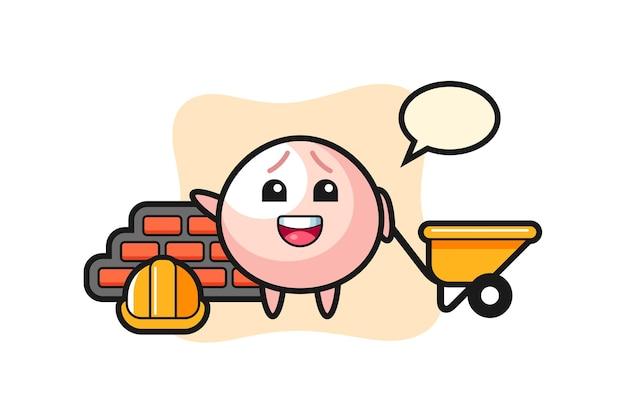 Cartoon character of meat bun as a builder, cute style design for t shirt, sticker, logo element
