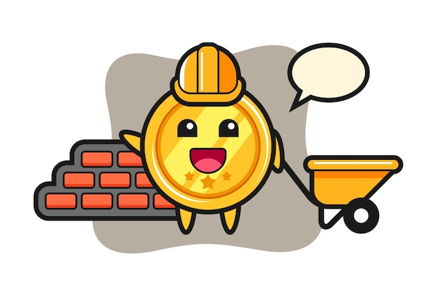 Cartoon character of medal as a builder
