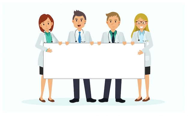 Cartoon character of medical team holding blank sign. empty banner. billboard. a team of doctor with big billboard.