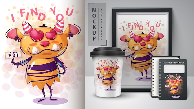 Cartoon character monster poster and merchandising