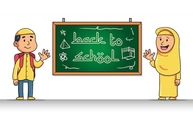 Cartoon character of moslem student give back to school greeting