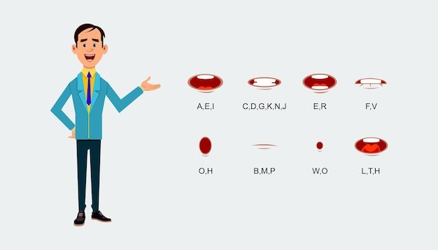 Cartoon character mouth and lips sync for sound pronunciation.