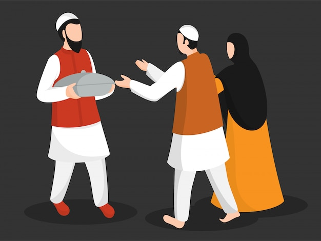 Cartoon character muslim man giving food to couple