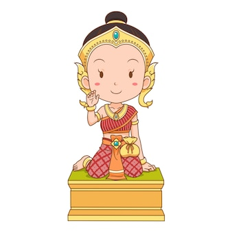 Cartoon character of nang kwak is a household divinity of thai folklore. she is deemed to bring good fortune, wealth, prosperity, attract customers to a business.
