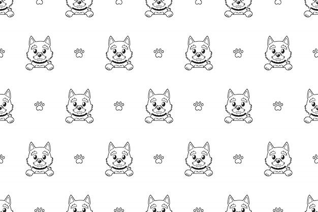 Cartoon character norwich terrier dog seamless pattern