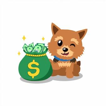 お金の袋を持つ漫画キャラクターノリッジテリア犬