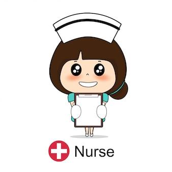 漫画のキャラクターナースデザイン、医療従事者、医療コンセプト。図。