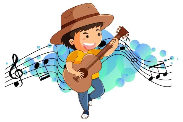 Мультипликационный персонаж мальчика, играющего на гитаре с символами мелодии