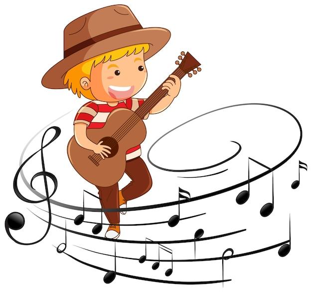 멜로디 기호로 기타를 연주하는 소년의 만화 캐릭터