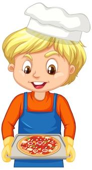피자 쟁반을 들고 있는 요리사 소년의 만화 캐릭터